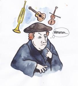 Kuuluisassa vuoden 1536 maalauksessa Martti Luther viettää perheineen jouluiltaa Wittenbergissä. Pöydällä on joulukuusi, mutta säestääkö Luther jouluvirttä viululla, pasuunalla vai kitaralla?