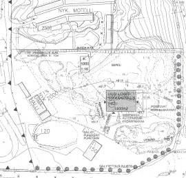 Tältä näyttävät logistiikkakeskuksen suunnitelmat. Piirustus on ympäristölupahakemuksen liitteenä. Kuvassa näkyy myös säilytettävä puusto.