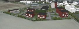 Ramboll Finland Oy:n laatimassa havainnekuvassa näkyy, miten uudet rakennukset sijoittuvat Paimiontien ja Kravinkujan risteykseen. Valkoiset rakennukset edustavat jo olemassa olevia rakennuksia.