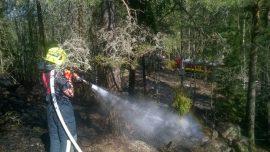 Palo pääsi leviämään kallioisessa maastossa muutaman sadan metrin matkalle.