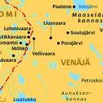 Pohjois-Karjalan ja Venäjän Maaselän kannaksen seudut nykyaikaisella kartalla. Karhumäkeä ei ole merkitty karttaan, mutta se sijaitsee Äänisen pohjoisimman vuonon pohjukassa.